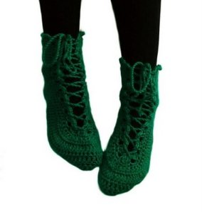 green lace up socks